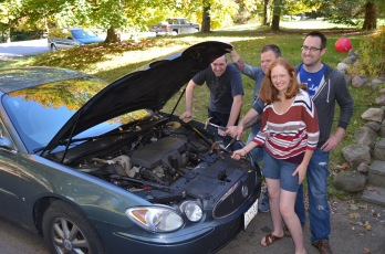 Peter, Jason, Julie and Rob pretending to fix a car :)