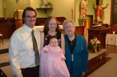 Peter, Julie holding Eva, and Mom