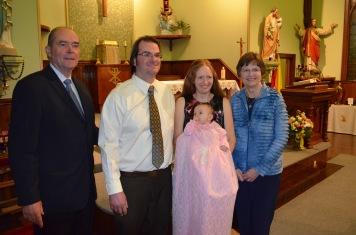 Craig (Peter's Dad), Peter, Julie holding Eva, and Jane (Peter's Mom)
