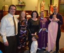 Peter, Julie, Melissa, Macklan, Father Cruikshank, Peter holding Eva