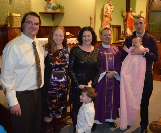 Peter, Julie, Melissa, Macklan, Father Cruikshank, Peter holding Eva