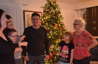 L-R: Melissa, Oren hugging Aiden, Steven, Abby & Shauna getting ready for group picture