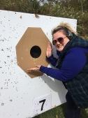 Megan admiring her target