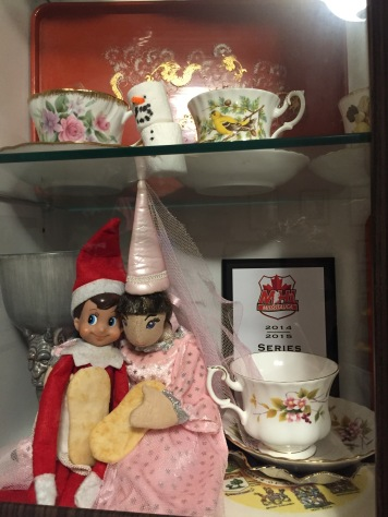 Blizzard sharing a cookie with a princess in the Tea Cup display