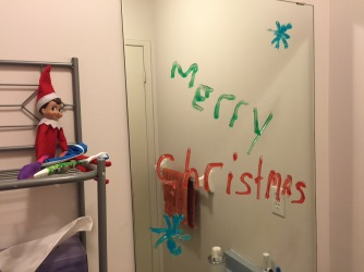 Blizzard leaving a festive message with toothpaste on the kids bathroom mirror