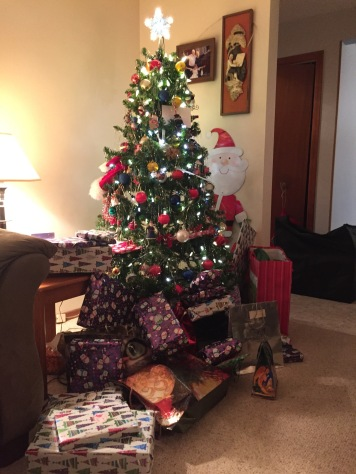 Gifts under the tree on Christmas Eve.