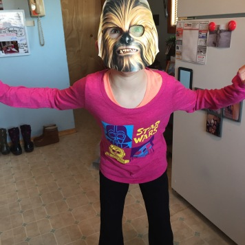 Abby (AKA Chewbacca) getting ready to go see Star Wars