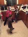 Macklan, Abby and Aiden playing imagination game that included Star Wars, Marvel Comics (Aiden is holding Thor's hammer, and Power Rangers (Abby is holding Power Ranger sword)