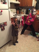 C-3PO Macklan and Storm Trooper Abby striking a pose.