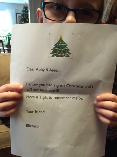 Note left by Blizzard before returning to North Pole