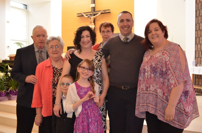 Papa, Mama, Aiden, Grandma, Melissa, Peter, Shalaine, Aiden and Abby at the altar of St. John of the Cross