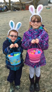 Abby and Aiden after their Easter Egg Hunt