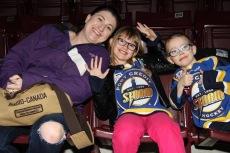 Melissa with Abby and Aiden at Steelheads Night