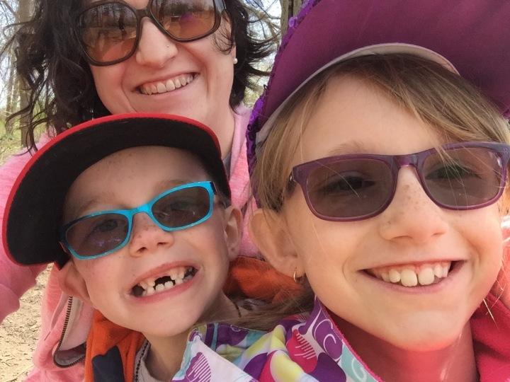 Melissa, Abby & Aiden selfie at the dog park