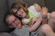 Aiden hugging Abby