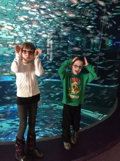 Kids pretending to be fish
