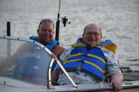 Aaron taking Uncle Bruce for a boat ride