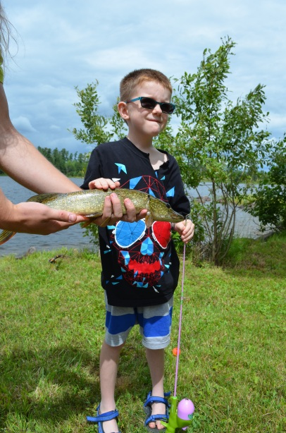 Aiden with his pike caught using gum as bait