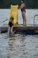 Abby using the slide put in by Aaron on the dock (Slide id from Ryan St)