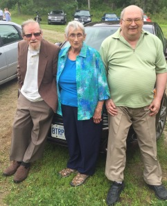 Uncle Al, Auntie Joyce & Dad (Bruce) hanging out before the wedding.