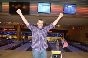 Peter after knocking a couple of pins over