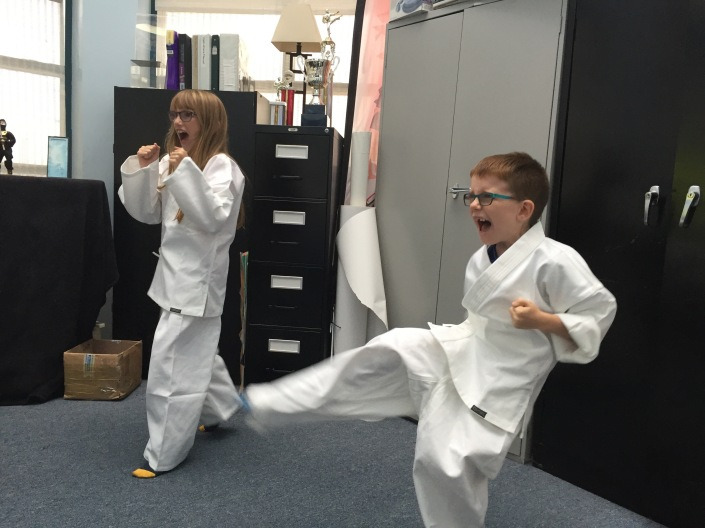 Aiden & Abby at Karate lesson