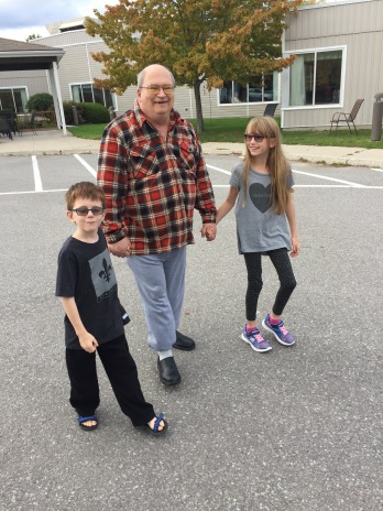 Grandpa walking with Abby & Aiden @ Redpath