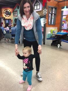 Auntie Melissa helping Eva walk
