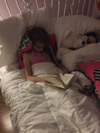 Abby fell asleep reading Dear Canada
