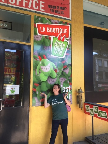 Melissa in front of Just for Laughs Theatre