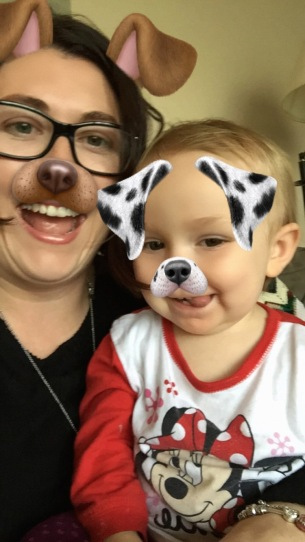Auntie Melissa and Eva doing some Snapchat Selfies