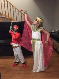 Abby in her Queen of Egypt costume & Aiden in his Power Ranger costume