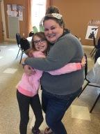 Auntie Megan & Abby hugging