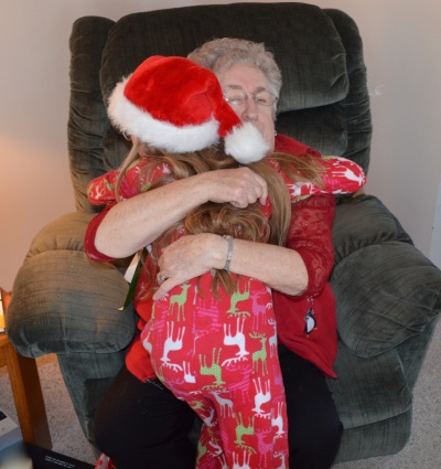 Abby hugging Mama for the AGO gift.