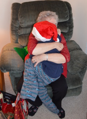 Aiden hugging Mama for the AGO gift