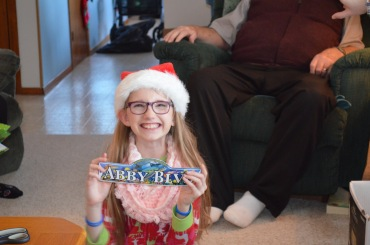 Abby with her new door sign from Stingray Experience Gift
