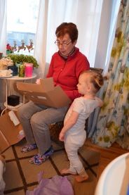 Grandma & Violet opening presents