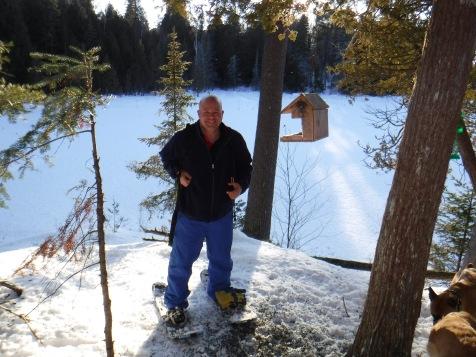 Uncle Aaron at his bird feeder