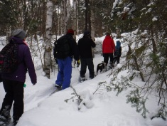 Family Snowshoeing: L-R: Melissa, Aaron, Steven, Lindy, Jill & Aiden. Abby was further ahead on the trail.