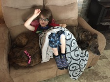 Aiden chilling with Marley & Lila