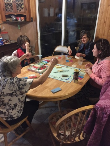 Auntie Joyce, Aiden, Jill & Melissa in a heated game of Monopoly