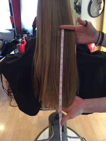 Measurement of Abby's hair donation