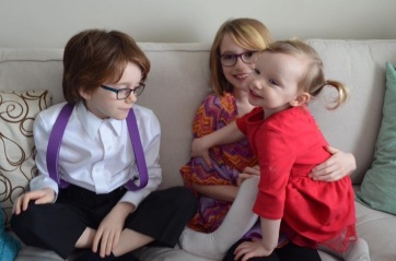 Violet with her cousins Abby & Aiden