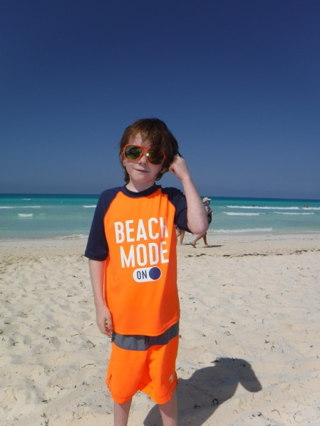 Aiden on the beach for the first day