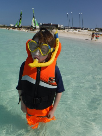 Aiden suited up for his first time in the Ocean