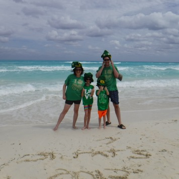 Celebrating St. Patrick's Day on the beach.