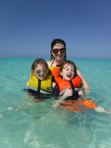 Melissa with Abby & Aiden in the Atlantic Ocean for the first time