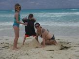 Melissa, Abby & Aiden building their sandcastle