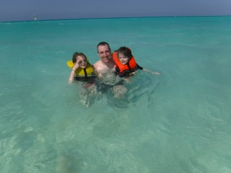 Peter with Abby & Aiden in Atlantic Ocean for the first time.