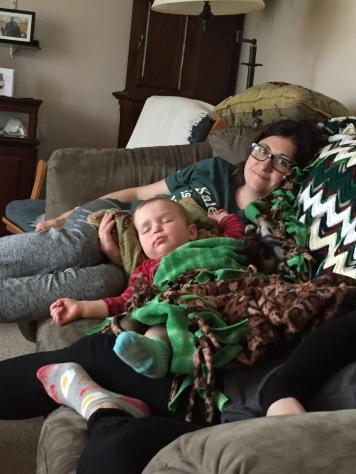 Eva Napping with Auntie Melissa